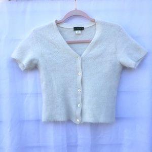 J Crew | Angora cropped cardigan sweater top shirt